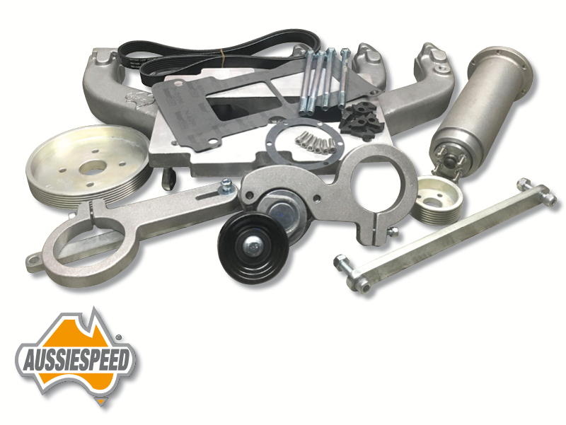 Inline 6 Kit : Valiant hemi inline supercharger kit satin finish suit